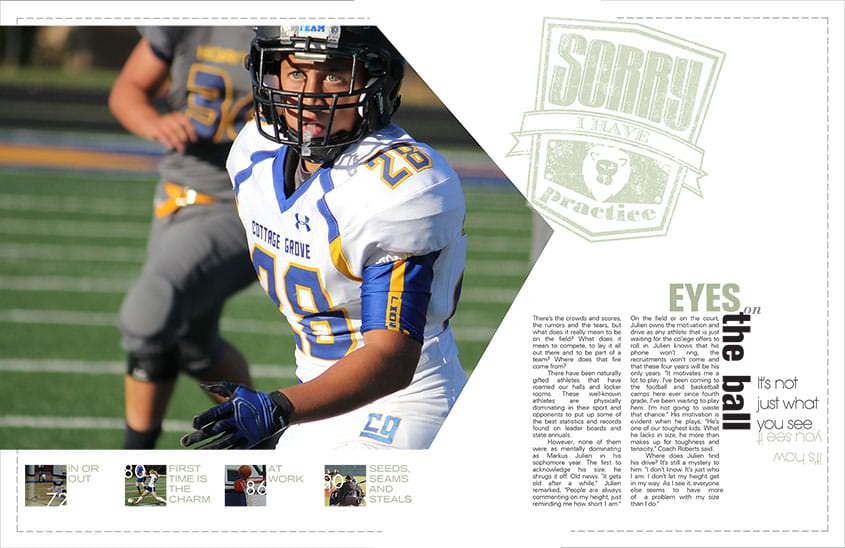 A Yearbook Layout By A Yearbook Class With Sports Players Featured